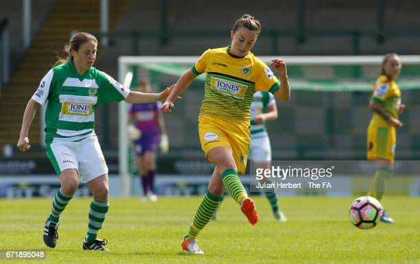 Annie Heatherson of Yeovil Town Ladies and Caroline Weir of Liverpool Ladies FC in action during the WSL Spring Series Match between Yeovil Town...