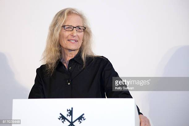 Annie Leibovitz addresses the press about her new exhibition 'WOMEN New Portraits' commissioned by UBS at the Presidio's Crissy Field on March 22...