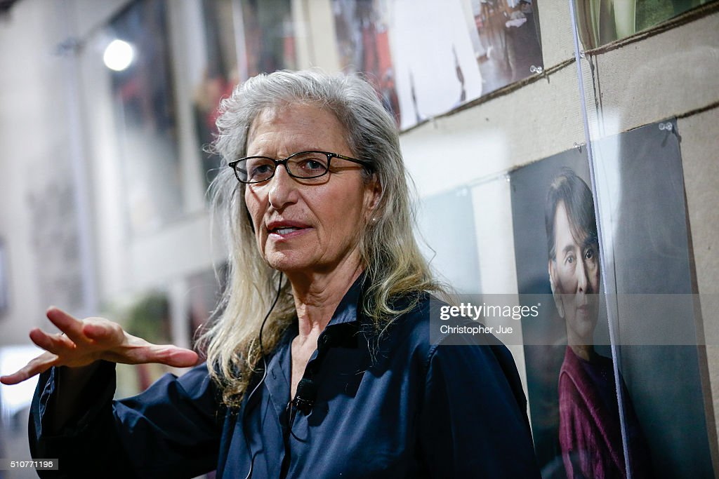 Annie Leibovitz delivers a speech at the press conference for her exhibition 'WOMEN New Portraits' at TOLOT/heuristic SHINONOME on February 17 2016...