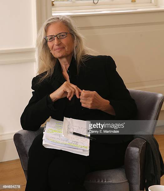 Annie Leibovitz poses for photos before her WOMEN New Portraits Annie Leibovitz press conference at Somerset House on October 28 2015 in London...