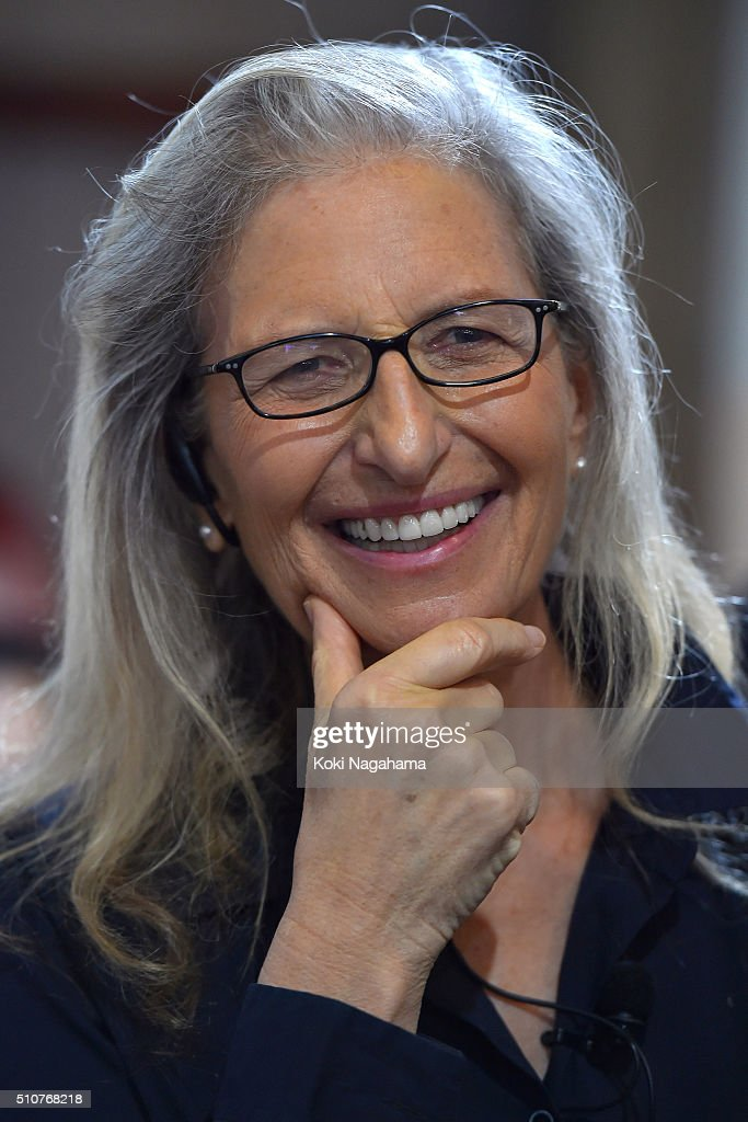 Annie Leibovitz speaks at the press conference for her exhibition 'WOMEN New Portraits' at TOLOT/heuristic SHINONOME on February 17 2016 in Tokyo...