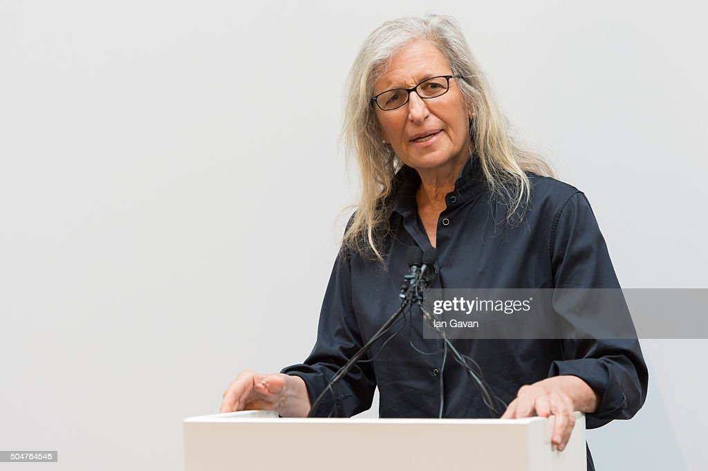 <a gi-track='captionPersonalityLinkClicked' href=/galleries/search?phrase=Annie+Leibovitz&family=editorial&specificpeople=549168 ng-click='$event.stopPropagation()'>Annie Leibovitz</a> speaks during the press preview of 'WOMEN: New Portraits' exhibition commissioned by UBS at The Wapping Project on January 13, 2016 in London, England.