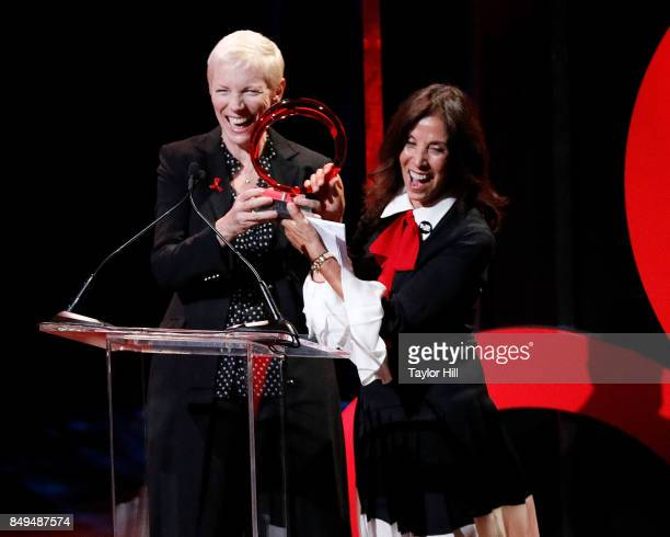 Annie Lennox accepts the George Harrison Award from Olivia Harrison during 'Global Citizen Live' at NYU Skirball Center on September 18 2017 in New...