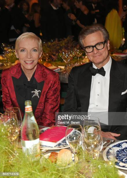 Annie Lennox and Colin Firth attend a private dinner hosted by Livia Firth following the Green Carpet Fashion Awards Italia at Palazzo Marino on...