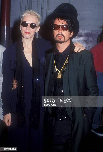 Annie Lennox and Dave Stewart of Eurythmics during Eurythmics Concert At The Pantages August 28 1989 at The Pantages Theater in Hollywood California...