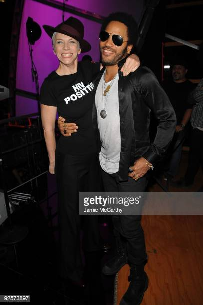 *EXCLUSIVE* Annie Lennox and Lenny Kravitz attend the 25th Anniversary Rock Roll Hall of Fame Concert at Madison Square Garden on October 30 2009 in...