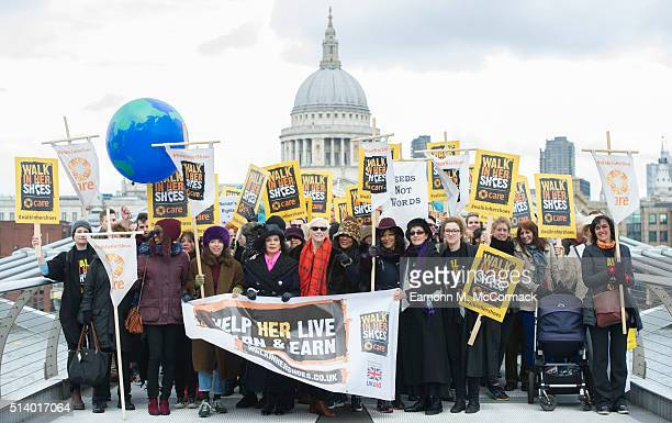 Annie Lennox Bianca Jagger and Helen Pankhurst take part in 'Walk In Her Shoes' on March 6 2016 in London England