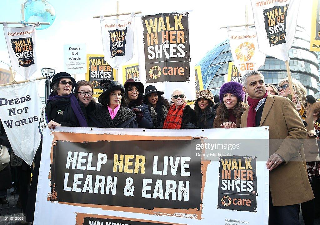 Annie Lennox, Bianca Jagger, Helen Pankhurst Take Part In 'Walk In Her Shoes'