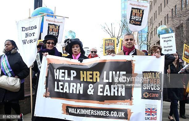 Annie Lennox Bianca Jagger Sadiq Khan Bridget Christie and Helen Pankhurst lead activists politicians and 21 century suffragettes to 'Walk In Her...