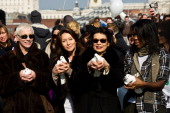 Annie Lennox Cherie Lunghi and Bianca Jagger attend photocall ahead of a march in aid of International Women's Day at the Millenium Bridge on March 8...