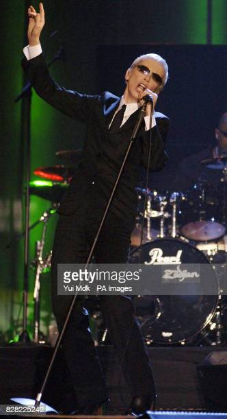 Annie Lennox on stage at the UK Music Hall Of Fame 2005 live final at the Alexandra Palace north London
