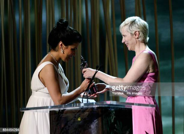 Annie Lennox presents Anna Netrebko with her Female Artist of the Year Award on stage during the Classical Brit Awards 2008 held at the Royal Albert...