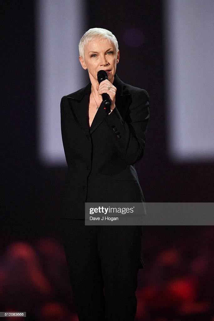 Annie Lennox presents the Icon Award at the BRIT Awards 2016 at The O2 Arena on February 24, 2016 in London, England.
