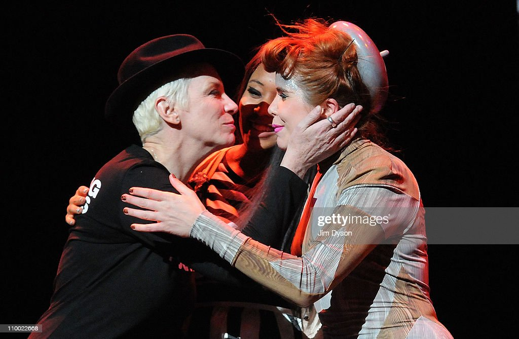 Annie Lennox, VV Brown and Paloma Faith appear on stage following the 'Women Of The World: Equals' live concert to celebrate the 100th anniversary of International Women's Day at the Royal Festival Hall on March 11, 2011 in London, England.