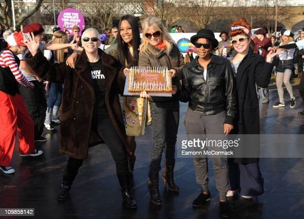 Annie Lennox VV Brown Gaby Roslin Speech Debelle and Paloma Faith celebrate 100th Anniversary of International Womens Day at Jubilee Gardens on March...