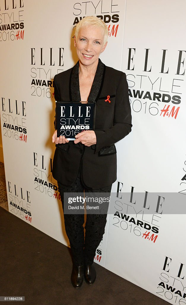 Annie Lennox, winner of the Outstanding Achievement award, poses in the winners room at The Elle Style Awards 2016 on February 23, 2016 in London, England.