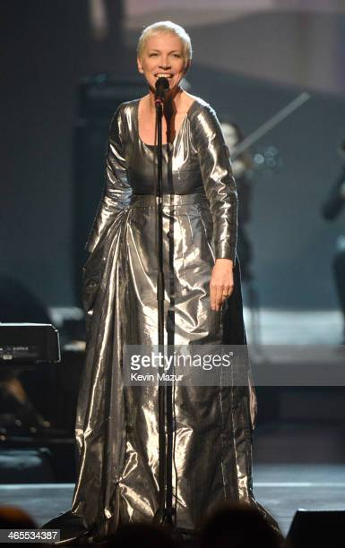 Annie Lenox performs onstage at 'The Night That Changed America A GRAMMY Salute To The Beatles' at Los Angeles Convention Center on January 27 2014...