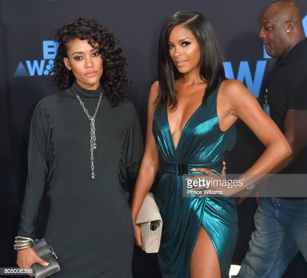 Annie llonzeh and Claudia Jordan attend the 2017 BET Awards at Microsoft Theater on June 25 2017 in Los Angeles California