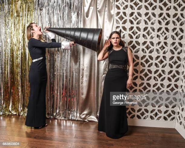 Annie Murphy and Emily Hampshire pose at the 2016 Canadian Screen Awards Portrait Studio at the Sony Centre for the Performing Arts on March 13 2016...