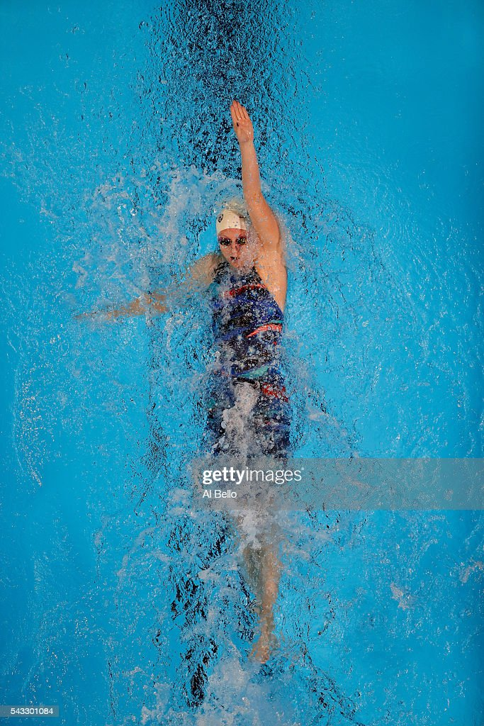 Annie Ochitwa of the United States competes in a preliminary heat for the Women's 100 Meter Backstroke during Day Two of the 2016 U.S. Olympic Team Swimming Trials at CenturyLink Center on June 27, 2016 in Omaha, Nebraska.