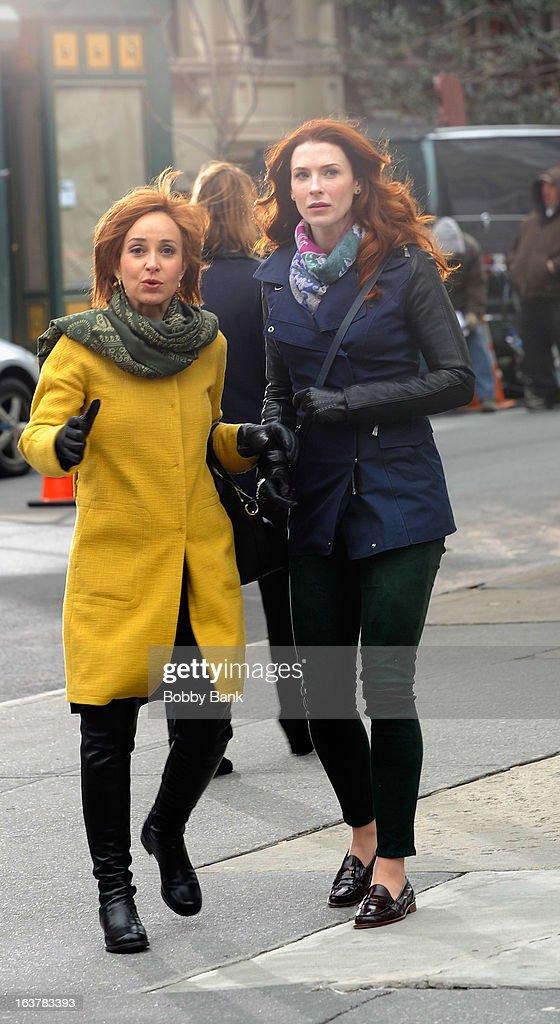 Annie Potts and Bridget Regan filming on location for 'Murder In Manhattan' on March 15, 2013 in New York City.