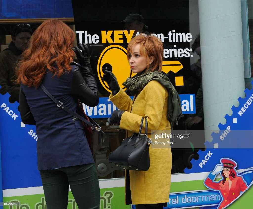 Annie Potts and Bridget Regan filming on location for 'Murder In Manhattan' on March 15, 2013 in New York City.
