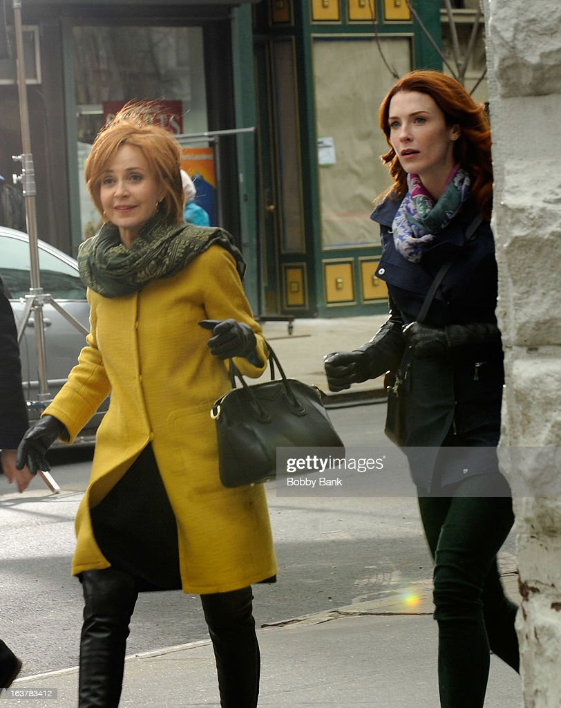 <a gi-track='captionPersonalityLinkClicked' href=/galleries/search?phrase=Annie+Potts&family=editorial&specificpeople=1519623 ng-click='$event.stopPropagation()'>Annie Potts</a> and Bridget Regan filming on location for 'Murder In Manhattan' on March 15, 2013 in New York City.