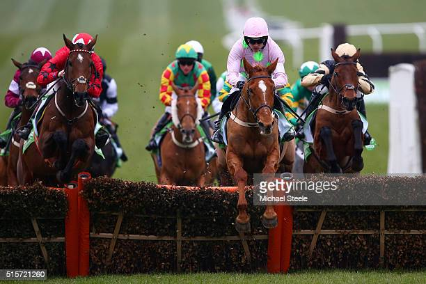 Annie Power ridden by Ruby Walsh jumps next to The New One ridden by Sam TwistonDavies during the Stan James Champion Hurdle Challenge Trophy Race on...