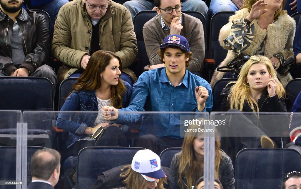Annie Rogers and <a gi-track='captionPersonalityLinkClicked' href=/galleries/search?phrase=Nick+Goepper&family=editorial&specificpeople=9021155 ng-click='$event.stopPropagation()'>Nick Goepper</a> attend Ottawa Senators vs New York Rangers game at Madison Square Garden on April 5, 2014 in New York City.