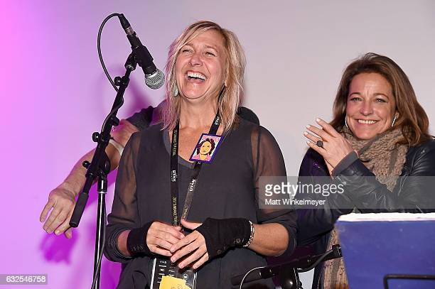 Annie Roney and Susan Turley speak onstage during the Film Independent International Documentary Association Oovra Music And RO*CO FILMS Sundance...