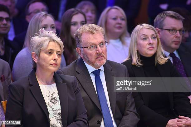 Annie Wells David Mundell and Sheila Mechan look on as Scottish Conservative Leader Ruth Davidson launches the partys Holyrood Election Manifesto on...