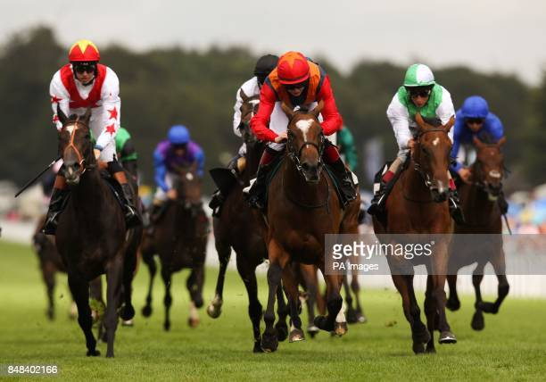 Annie's Fortune ridden by Michael J M Murphy comes home to win The EBF British Stallion Studs New Ham Maiden Fillies' stakes during Ladies Day of the...