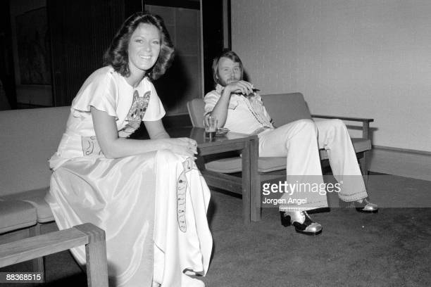 AnniFrid Lyngstad and Benny Andersson of pop group Abba posed in May 1975 in Copenhagen Denmark