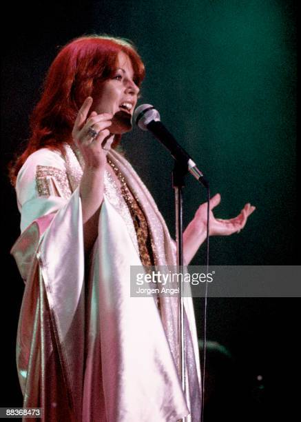 AnniFrid Lyngstad of Abba performs on stage at the Brondbyhallen on January 31st 1977 in Copenhagen Denmark