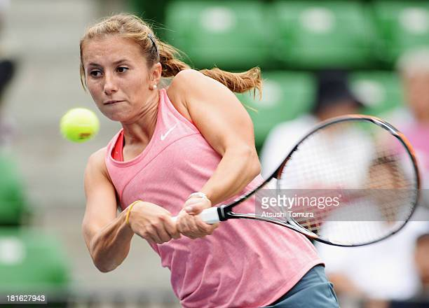 Annika Beck of Germany in action during her women's singles first round match against Ana Ivanovic of Serbia during day two of the Toray Pan Pacific...