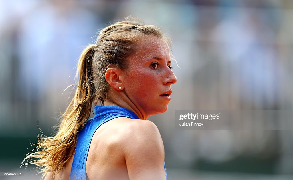 <a gi-track='captionPersonalityLinkClicked' href=/galleries/search?phrase=Annika+Beck&family=editorial&specificpeople=6249693 ng-click='$event.stopPropagation()'>Annika Beck</a> of Germany looks on during the Ladies Singles third round match against Irina-Camelia Begu of Romania on day six of the 2016 French Open at Roland Garros on May 27, 2016 in Paris, France.