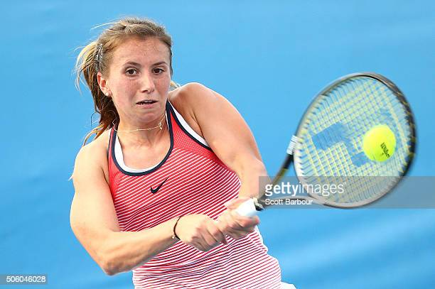 Annika Beck of Germany plays a backhand in her second round match against Timea Bacsinszky of Switzerland during day four of the 2016 Australian Open...