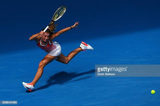 Annika Beck of Germany plays a forehand in her fourth round match against Angelique Kerber of Germany during day eight of the 2016 Australian Open at...