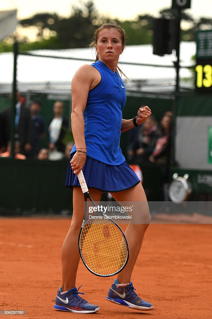 Annika Beck of Germany reacts during the Women's Singles second round match against Kateryna Bondarenko of Ukraine on day four of the 2016 French Open at Roland Garros on May 25, 2016 in Paris, France.