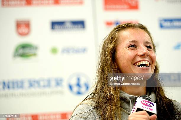 Annika Beck of Germany reacts in a press conference during day four of the Nuernberger Insurance Cup on June 11 2013 in Nuremberg Germany
