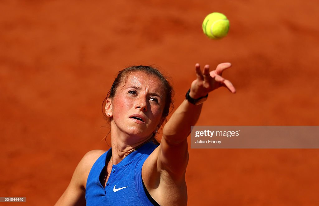 Annika Beck of Germany serves during the Ladies Singles third round match against Irina-Camelia Begu of Romania on day six of the 2016 French Open at Roland Garros on May 27, 2016 in Paris, France.