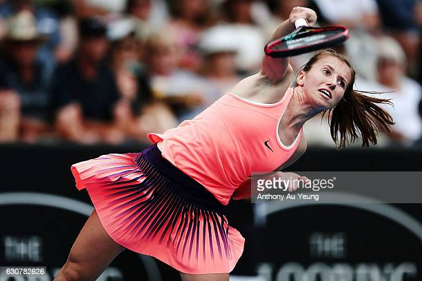 Annika Beck of Germany serves in her match against Naomi Osaka of Japan on day one of the ASB Classic on January 2 2017 in Auckland New Zealand