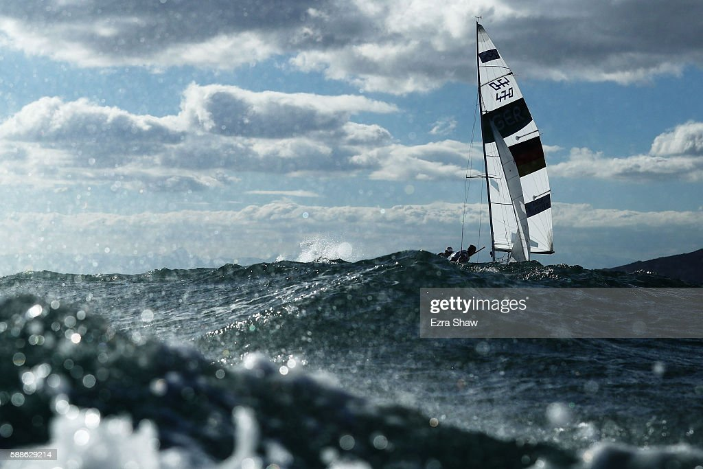 Annika Bochmann of Germany and Marlene Steinherr of Germany compete in the Women's 470 class on Day 6 of the Rio 2016 Olympics at Marina da Gloria on...