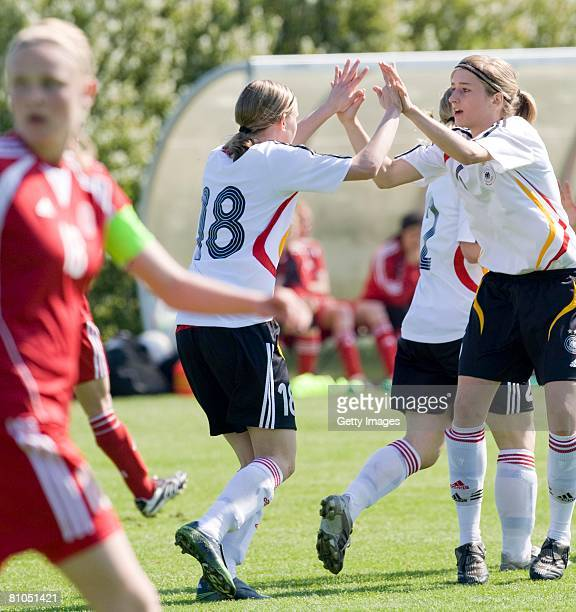 Annika Doppler and Franziska Knopp of Germany celebrate the second goal during the U16 women international friendly match between Denmark and Germany...