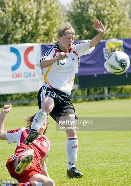 Annika Doppler of Germany battles for the ball during the U16 women international friendly match between Denmark and Germany at the Stafsinge IP...