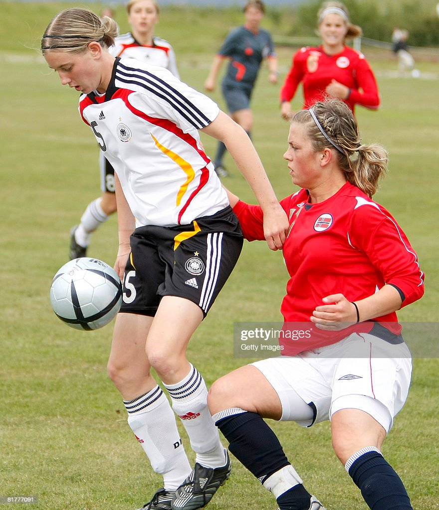 Annika Eberhardt fights for the ball with Norwegian defender during the U16 Nordic Cup match between Norway and Germany at the Hvolsvollur stadium on June 30, 2008 in Hvolsvoellur, Iceland.