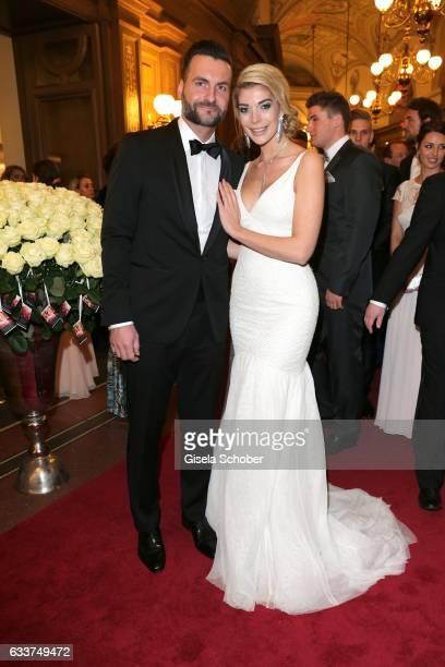 Annika Gassner and her boyfriend Ricardo Radowski during the Semper Opera Ball 2017 at Semperoper on February 3 2017 in Dresden Germany