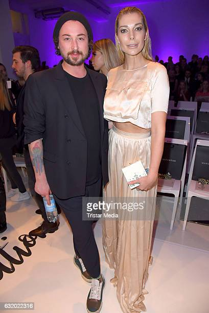 Annika Gassner and Marcel Ostertag attend the Marcel Ostertag show during the MercedesBenz Fashion Week Berlin A/W 2017 at Delight Rental Studios on...