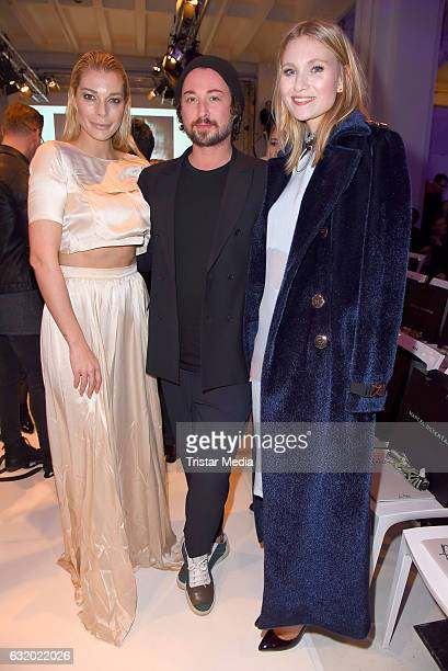 Annika Gassner Marcel Ostertag and Carolin Niemczyk attend the Marcel Ostertag show during the MercedesBenz Fashion Week Berlin A/W 2017 at Delight...