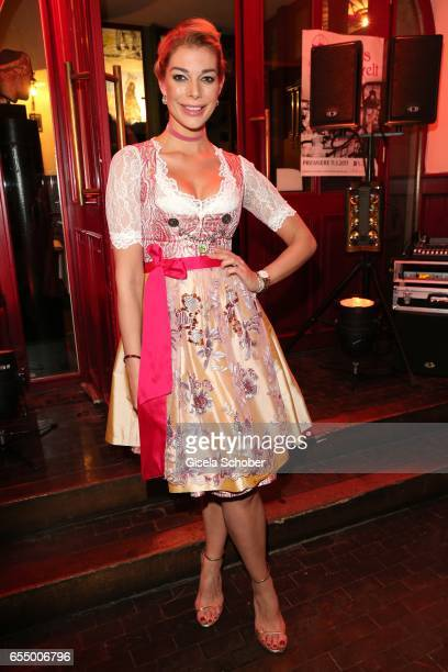 Annika Gassner wearing a dirndl by Astrid Soell during the wedding party of dirndl fashion designer Astrid Soell and her husband Volker Woehrle at...